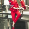Sevy Two Pieces Of Red Hot Layer Long Sleeve Top With Pants Sets