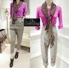 Purple split top and grey table pants with scarp set by Sweet Bunny