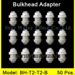 "ฺBulk Head Adapter (1/4"" OD x 1/4"" OD) Plastic สวมเร็ว Speed Fit 50 Pcs."