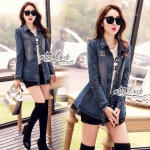 Jeans jacket female spring Korean lace long-sleeved shirt by Aris Code.