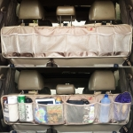 P&F High Quality Products Car Trunk Organizer with 3 Headrest Strap - Super Long Life - Never Hung Down (Beige color.)