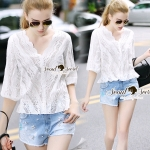 Seoul Secret Say's .... Girly Ivory Perforate Curly Blouse