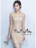 Flowers Gold Lace Embroidered Sleeveless Dress