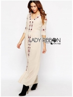 Lady Spencer Casual Flower Embroidered Crochet Maxi Dress