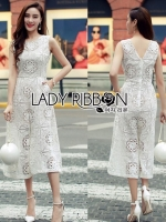 Lady Katy Smart Casual White Guipure Lace Jumpsuit